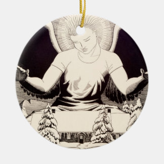 Angel Halo Peace On Earth Cottage Snow Winter Ceramic Ornament