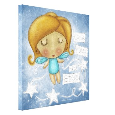 Art Themed Angel Hangs the Stars Canvas Print