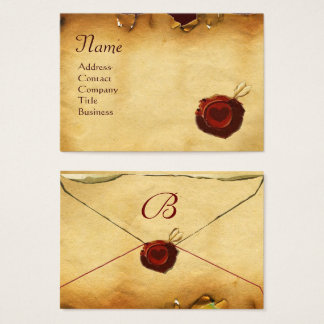 ANGEL HEART RED WAX SEAL PARCHMENT Monogram Business Card