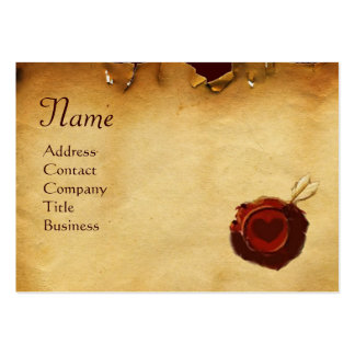 ANGEL HEART RED WAX SEAL PARCHMENT Monogram Large Business Cards (Pack Of 100)