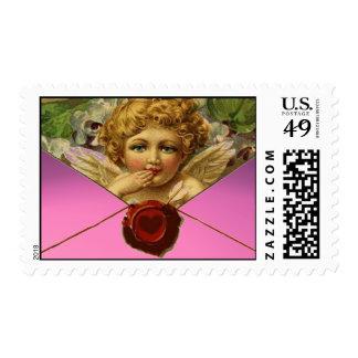 ANGEL HEART RED WAX SEAL Pink Valentine's Day Postage Stamp