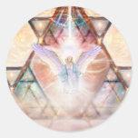 Angel Heart Round Stickers