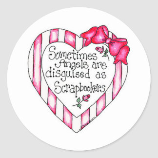 Angel Heart Scrapbooker Classic Round Sticker