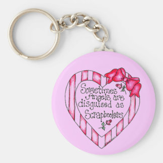 Angel Heart Scrapbooker Tshirts and Gifts Basic Round Button Keychain