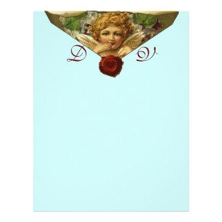 ANGEL HEART WAX SEAL Monogram Blue Letterhead