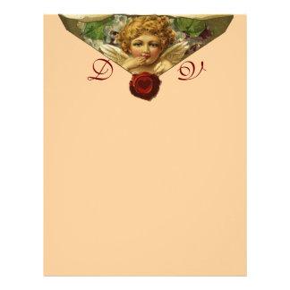 ANGEL HEART WAX SEAL Monogram Pink Letterhead