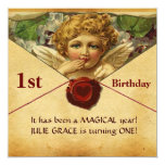 ANGEL HEART WAX SEAL PARCHMENT First Birthday Card