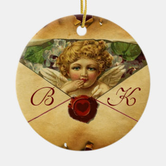 ANGEL HEART WAX SEAL PARCHMENT Monogram Ceramic Ornament
