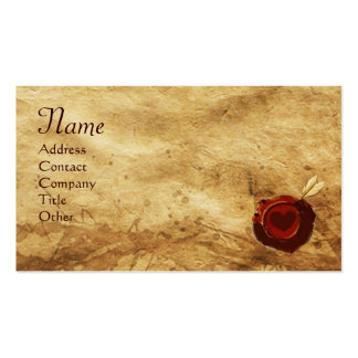ANGEL HEART WAX SEAL PARCHMENT Monogram Double-Sided Standard Business Cards (Pack Of 100)