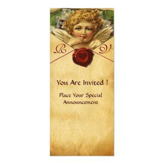 ANGEL HEART WAX SEAL PARCHMENT MONOGRAM 4X9.25 PAPER INVITATION CARD