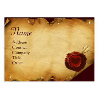 ANGEL HEART WAX SEAL PARCHMENT Monogram Large Business Cards (Pack Of 100)