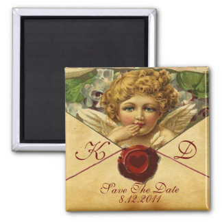 ANGEL HEART WAX SEAL PARCHMENT Monogram 2 Inch Square Magnet
