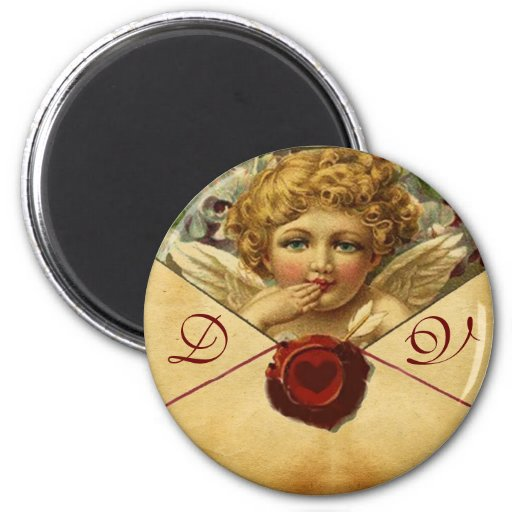 ANGEL HEART WAX SEAL PARCHMENT Monogram Magnets