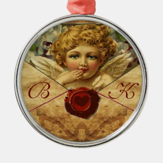 ANGEL HEART WAX SEAL PARCHMENT Monogram Metal Ornament