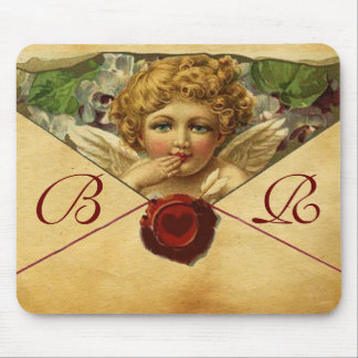 ANGEL HEART WAX SEAL PARCHMENT Monogram Mouse Pad