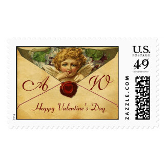 ANGEL HEART WAX SEAL PARCHMENT Monogram Postage Stamps