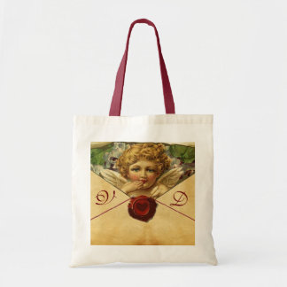 ANGEL HEART WAX SEAL PARCHMENT Monogram Tote Bag