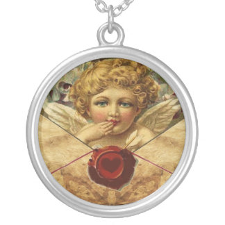 ANGEL HEART WAX SEAL PARCHMENT ROUND PENDANT NECKLACE