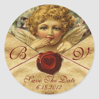 ANGEL HEART WAX SEAL PARCHMENT Save the Date Classic Round Sticker
