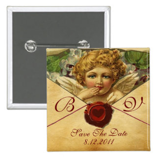 ANGEL HEART WAX SEAL PARCHMENT Save the Date Pinback Button