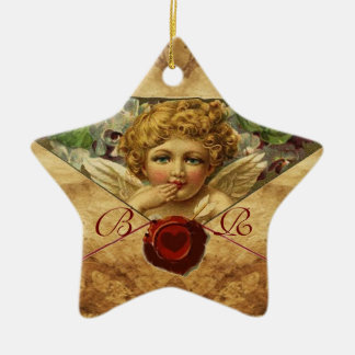 ANGEL HEART WAX SEAL PARCHMENT Star Monogram Ceramic Ornament