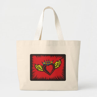 Angel Heart with Border Large Tote Bag