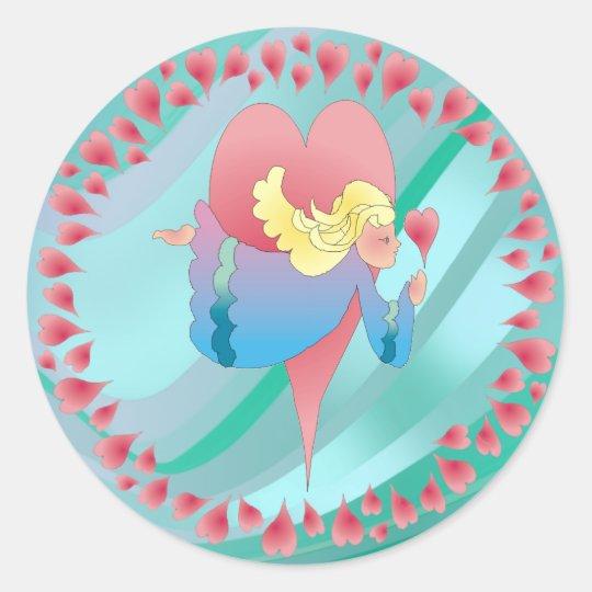 ANGEL & HEARTS by SHARON SHARPE Classic Round Sticker