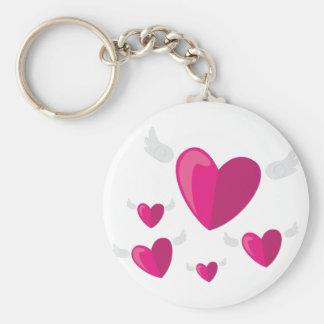 Angel Hearts Basic Round Button Keychain