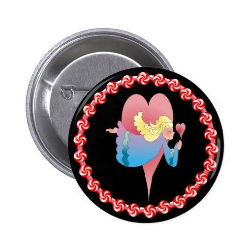 ANGEL, HEARTS & PINWHEELS by SHARON SHARPE 2 Inch Round Button