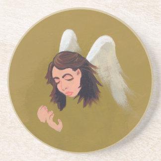 Angel help assistance caring original art painting beverage coaster