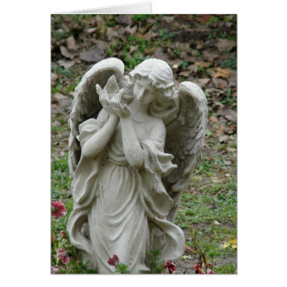 Angel Holding a Dove Statue Card