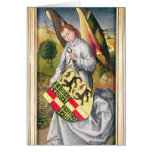 Angel holding a shield with  two leopards greeting cards
