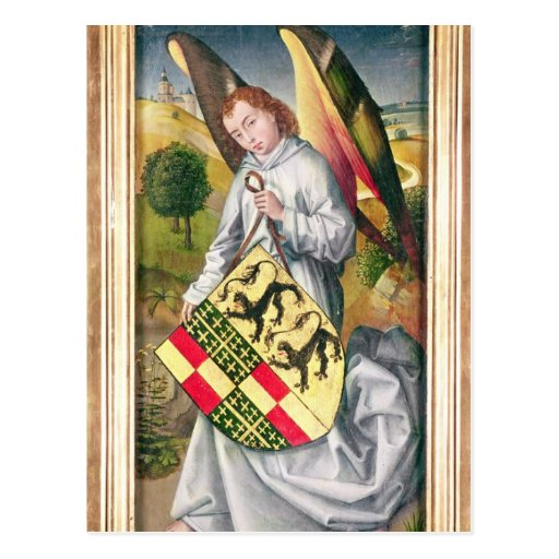 Angel holding a shield with  two leopards postcard