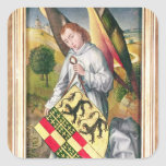 Angel holding a shield with  two leopards square sticker