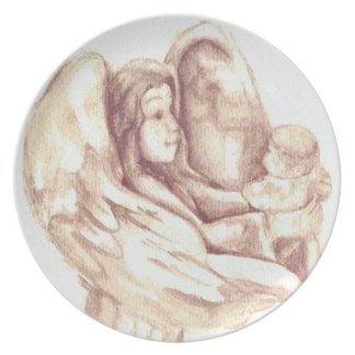 Angel Holding Baby Sepia Plate