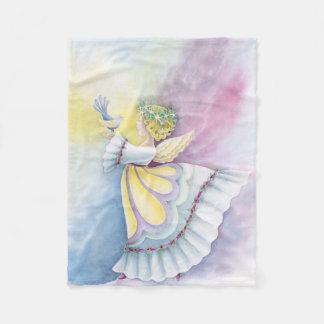 Angel Holding Bird Fleece Blanket