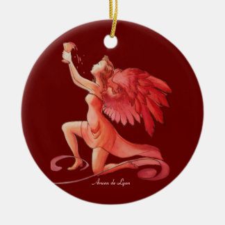 Angel Holding Cup 2 Ceramic Ornament