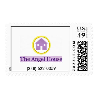 angel house logo, (248) 622-0359 postage