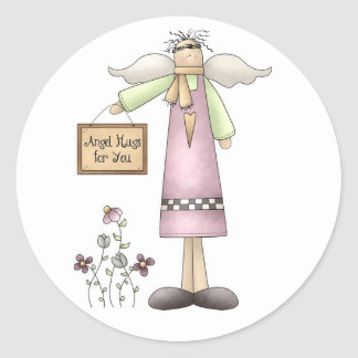 Angel Hugs for You-Stickers Classic Round Sticker