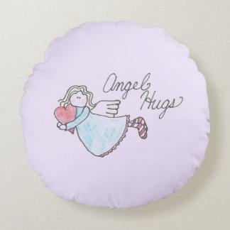 Angel Hugs Hearts & Stars Design Round Pillow
