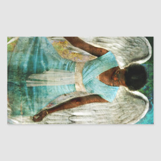 Ángel humilde pegatina rectangular