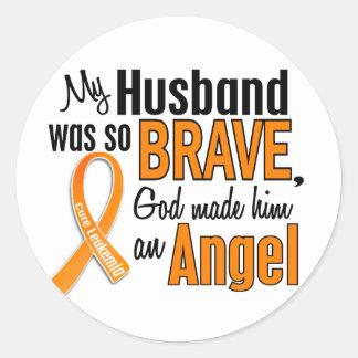 Angel Husband Leukemia Classic Round Sticker