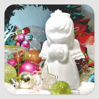 Ángel I del navidad Pegatina Cuadrada