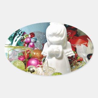 Ángel I del navidad Pegatina Ovalada
