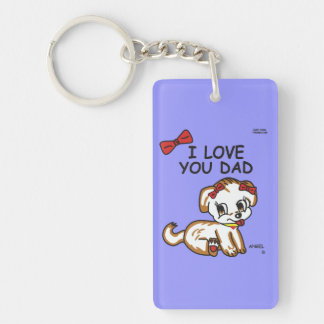 Angel I Love You Dad Double Sided Keychain