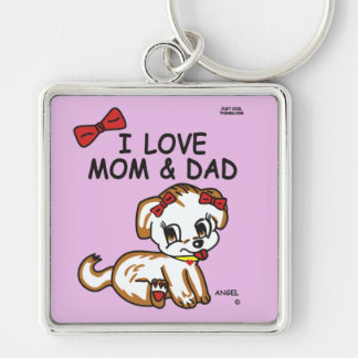 Angel I Love You Mom & Dad Keychain