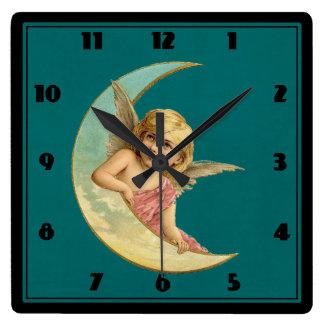 Angel in a crescent moon vintage image square wallclocks
