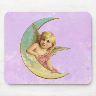 Angel in a crescent moon vintage image mouse pad