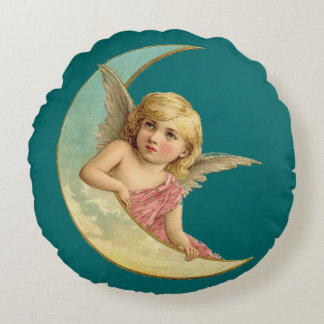 Angel in a crescent moon vintage image round pillow