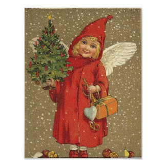 Angel in A Red Coat Print